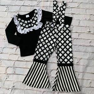 Boutique Girls 2pc Ruffle Suspender Outfit